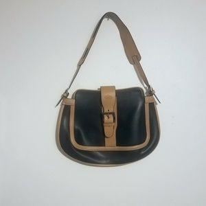 Tod's Camel Leather & Black Waxed Cotton Hobo bag